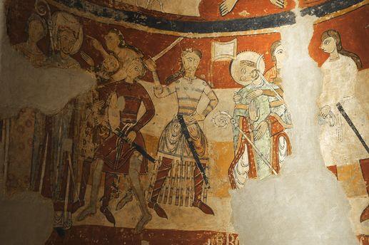 Iglesias d'Egara. Abside de la iglesia de Santa María. Muerte de Santo Tomás Becket. Siglo XII.